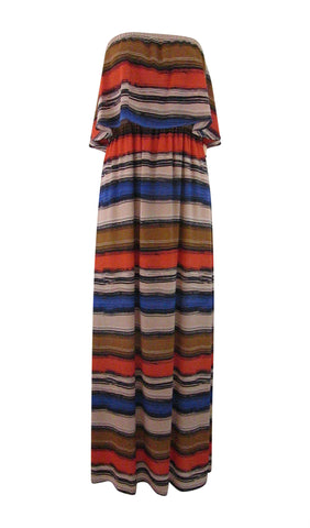 Gibson & Latimer Strapless Striped Multi-Color Maxi Dress - Small