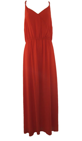 Cremieux Alla Chiffon Maxi Dress with Racer-back Orange - Large