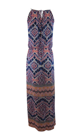 Cremieux Zaika Tile-Print Multi-Color Chiffon Halter Maxi Dress - Medium