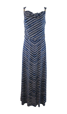 Calvin Klein Sleeveless Blouson Blue & White Striped Maxi Dress - Medium