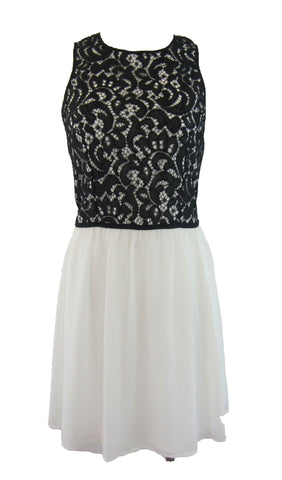 Gianni Bini Black Lace / White Chiffon Sleeveless Dress - Large