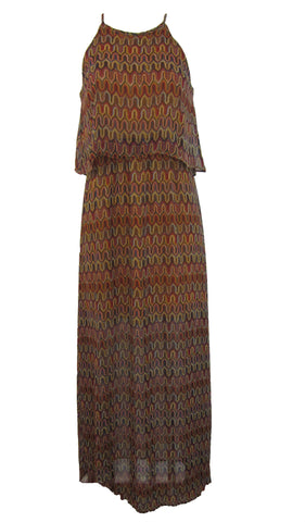Gianni Bini Multi-Color Chiffon Halter Halter Flounce Maxi Dress - Medium