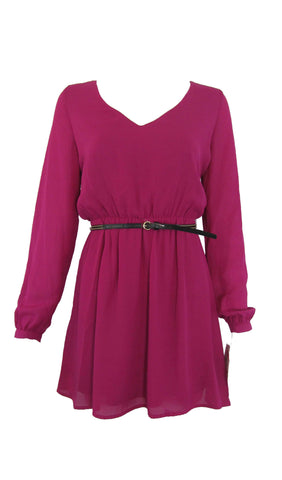 Gianni Bini Long Sleeve Magenta Chiffon Dress with Surplice Back - Small