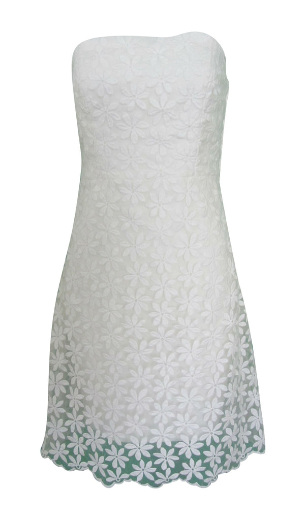 Badgley Mischka Belle White Strapless Dress Size 8