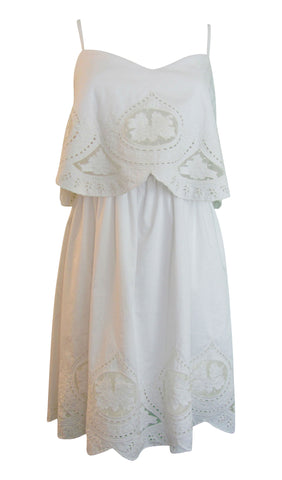 Sugarlips Kelly Embroidered Spaghetti Straps A-Line White Dress - Medium