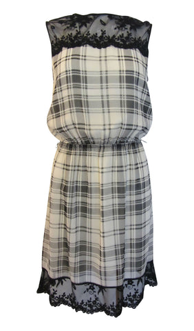Chelsea & Violet Plaid & Lace Black & White Sleeveless Dress - Small
