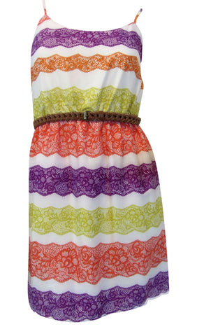 Gianni Bini Multicolored Spaghetti Straps Lace-Print Dress - Small Juniors