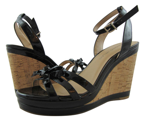 Antonio Melani Ankle Strap Black Patent Leather Cork Wedge Sandal - 8.5 M