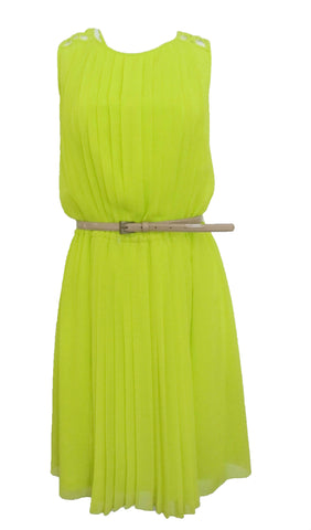 Jessica Simpson Sleeveless Pleated Dress with Deep V Back Neon Lime - Size 12