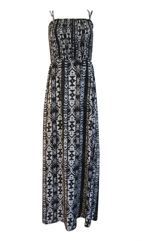 Skies Are Blue Black / White Tribal Print Spaghetti Straps Chiffon Maxi Dress - Medium