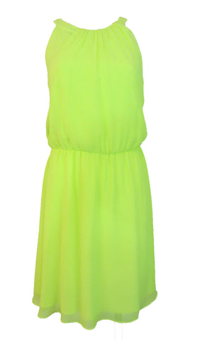 Gianni Bini Isabella Chiffon Halter Dress Neon Yellow - Small