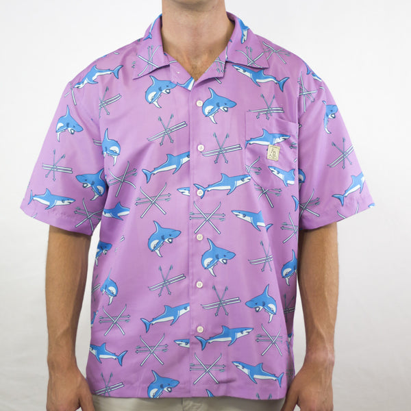 Sharks and Ski's Purple Shirt Fielder's Derby Hawaiian Shirt