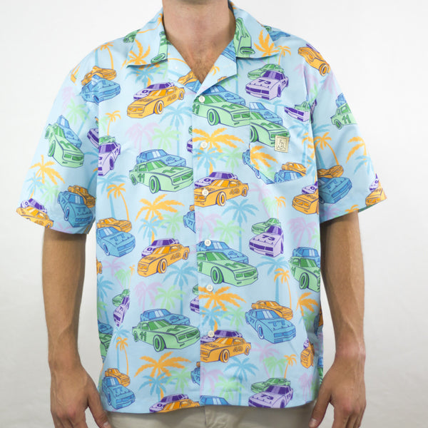 Racecars & Palm Trees Blue Shirt Fielders Derby Hawaiian Shirt