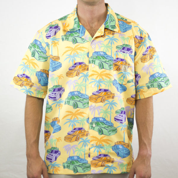 Racecars & Palms Yellow Fielders Derby Hawaiian Shirt