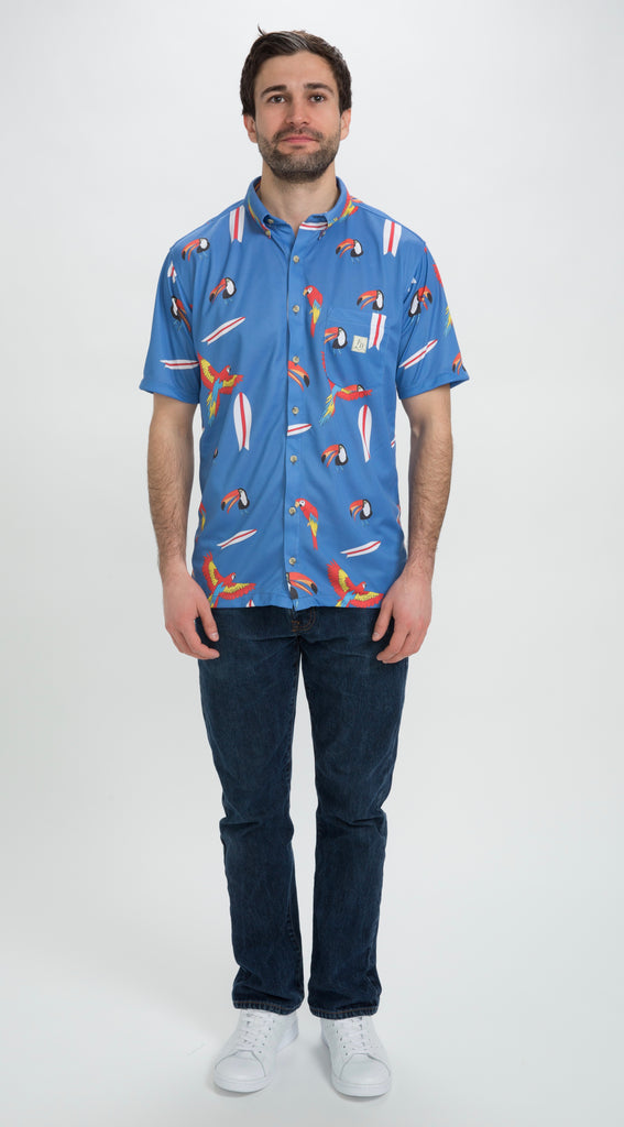 surfboards and toucan shirt