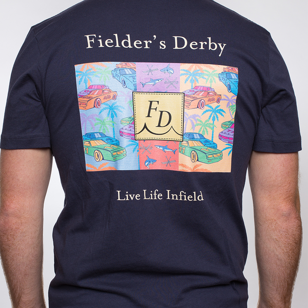 Blue Pocket Fielders Derby Back