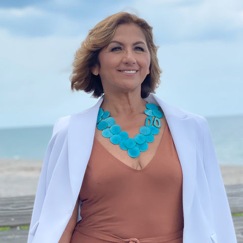 woman wearing Tagua necklace