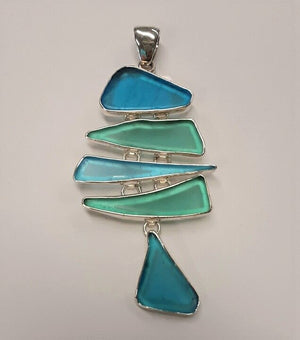 Charles Albert 5 Tier Azure Blue Sea Glass Pendant