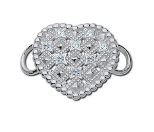 Le Stage Clasp, Solid Heart With Crystals