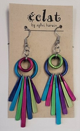 Eclat Hoop & Tassel Metallic Earrings