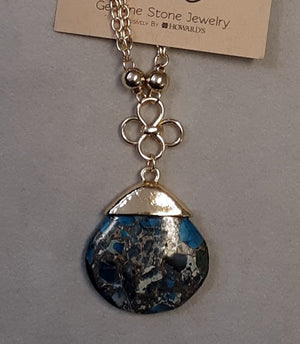Blue marbled stone gold tone necklace