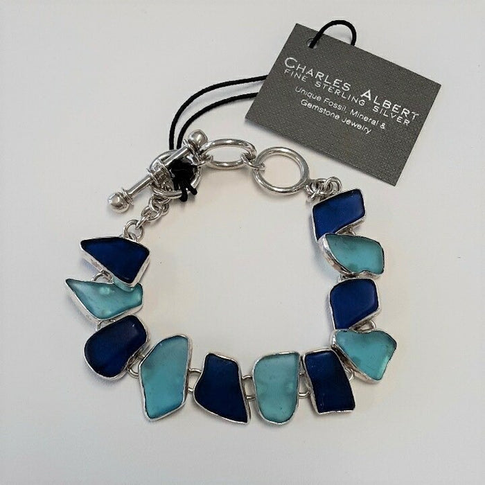 Charles Albert Shades of Blue Sea Glass Bracelet