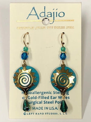 Adajio Teal Swirl Crystal Earrings