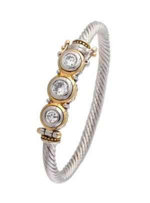 JOHN MEDEIROS BEIJOS COLLECTION 3 STONE WIRE BRACELET