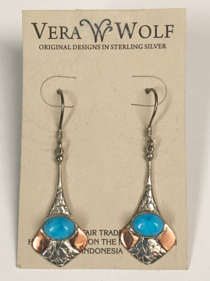Vera Wolf Sterling Silver Earrings - Turquoise