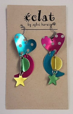 Eclat Metallic Earrings Heart & Star Rainbow