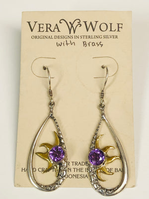 Vera Wolf Sterling Silver Earrings - Amethyst Sun