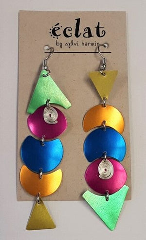 Eclat Metallic Shapes Earrings Rainbow