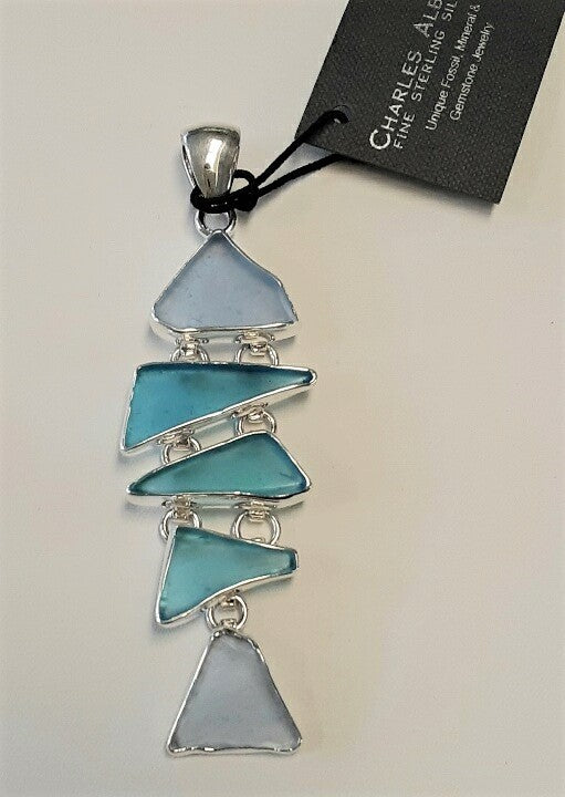 Charles Albert 5 Tier Aqua Blue Sea Glass Pendant