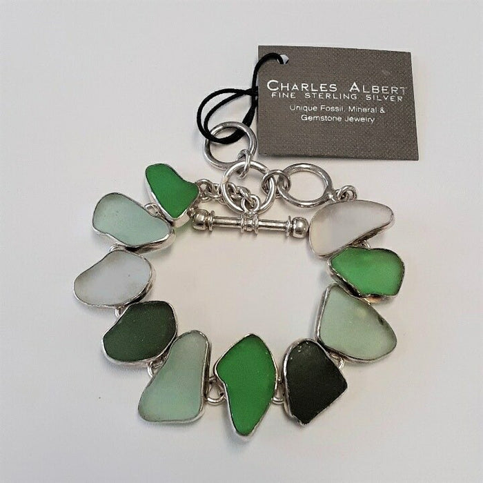 Charles Albert Shades of Green Sea Glass Bracelet