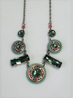 Firefly Green Crystal Mosaic Necklace