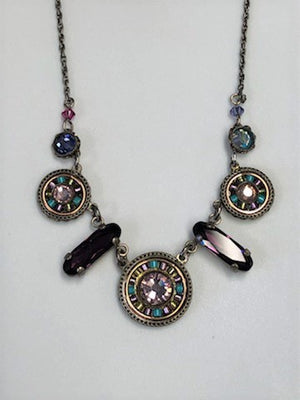 Firefly Pink and Violet Crystal Mosaic Necklace