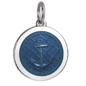 Front of Colby Davis Anchor Pendant - Medium, French Blue