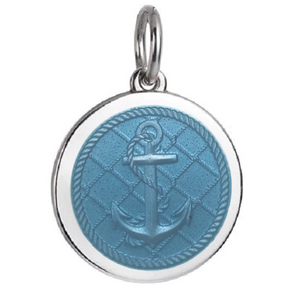 Front of Colby Davis Anchor Pendant - Medium, Light Blue