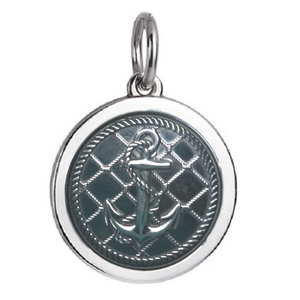 Front of Colby Davis Anchor Pendant - Medium, Oxidized Silver