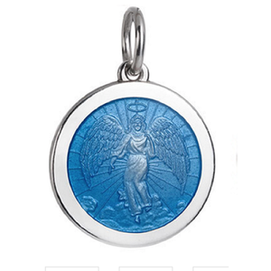 Front of Colby Davis Guardian Angel Pendant - Medium. French Blue