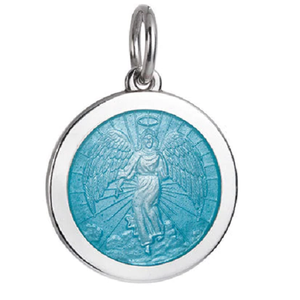 Front of Colby Davis Guardian Angel Pendant - Medium, Light Blue