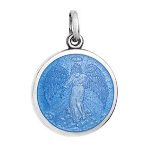 Front of Colby Davis Guardian Angel Pendant - Small, French Blue