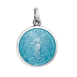 Front of Colby Davis Guardian Angel Pendant - Small, Light Blue