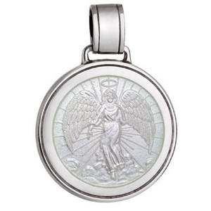 Front of Colby Davis Guardian Angel Pendant - Large, White