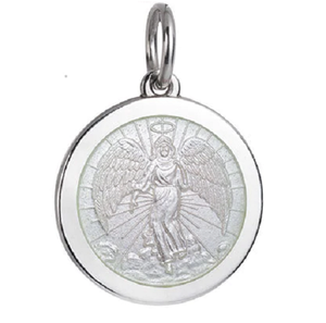 Front of Colby Davis Guardian Angel Pendant - Medium, White