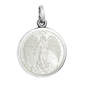 Front of Colby Davis Guardian Angel Pendant - Small, White