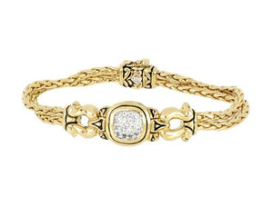 Anvil Gold & Pavé Horseshoe Two Strand Bracelet