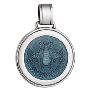 Front of Colby Davis Bee Pendant - Large, Gray