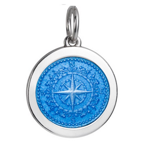 Front of Colby Davis Compass Rose Pendant - Medium, French Blue