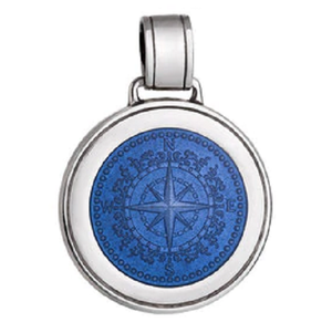 Front of Colby Davis Compass Rose Pendant - Large, French Blue